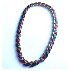 Jewelry - Multi-colored jem chain gold necklace